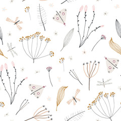 Cute seamless pattern with flowers, branch, leaves. Vintage background. Creative childish texture for fabric, wrapping, textile, wallpaper, apparel. Vector illustration. - 346371402
