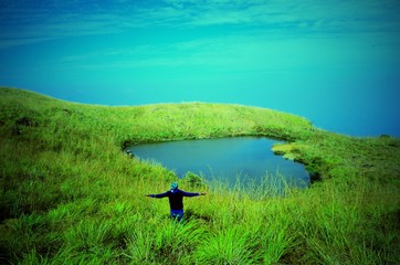 Foto auf AluDibond Reef grun Scenic View Of Grassy Landscape