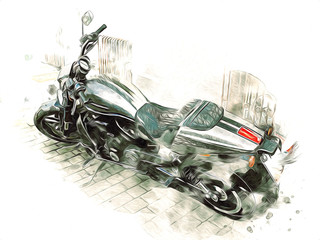 Motor cycle llustration color isolated art vintage retro