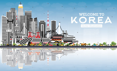 Fototapete - Welcome to South Korea City Skyline with Gray Buildings, Blue Sky and Reflections.