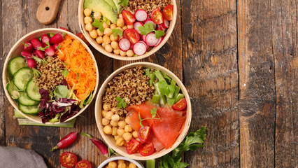 Fototapete - buddha bowl- assortment of health food