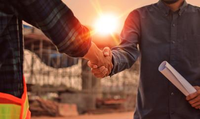 Fototapeta Building team shake hand Success agreement project building construction obraz