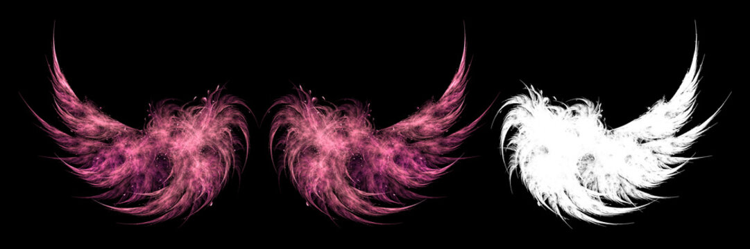Red fairy wings on black background with white clipping mask