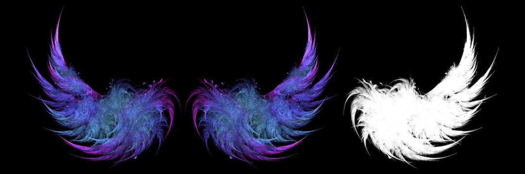 Gradient blue wings in the dark with white clipping mask