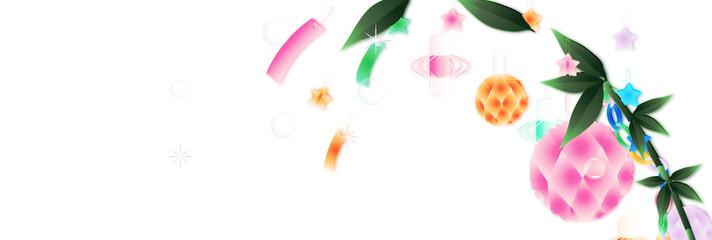 七夕飾り笹の葉にキラキラした大きいあみ飾りのイラストバナー素材