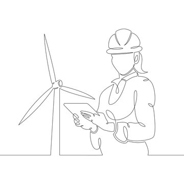female engineer with a tablet in a helmet against the background of a wind power station, clean renewable energy