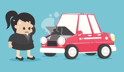 Foto auf Leinwand Cartoon cars Stressed businesswoman near broken car