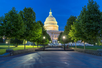 The United States Capitol building at night, Washington DC, USA.
