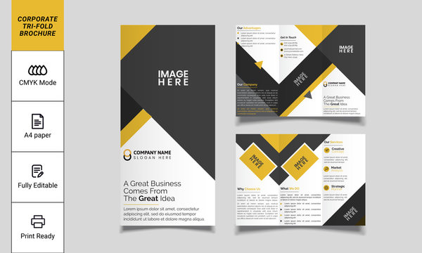 Creative tri fold brochure design. corporate business template for tri fold flyer. Layout with modern design vector and abstract background. Creative concept 3 folded flyer or brochure.