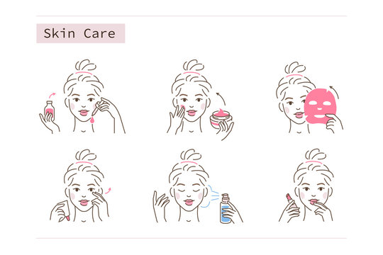 Beauty Girl Take Care of her Face and Use Facial Beauty Products. Woman Making Skincare Procedures. Skin Care Routine, Hygiene and Moisturizing Concept. Flat Vector Illustration and Icons set.