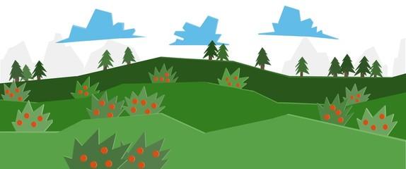 Paesaggio collinare. Boschi e prati verdi. Campagna in primavera. Panorama rurale. Natura, colline e boschi. Alberi e cespugli con frutti. Stagione. Cielo con nuvole. Campi coltivati. Frutti di bosco.