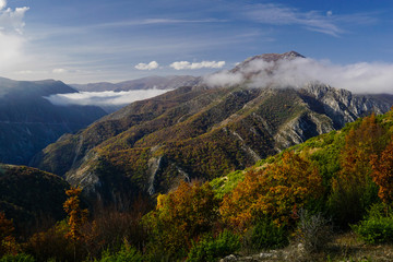 Fototapeta View from Vodno mountain towards Matka canyon and the Suva mountain peaks in North Macedonia  obraz