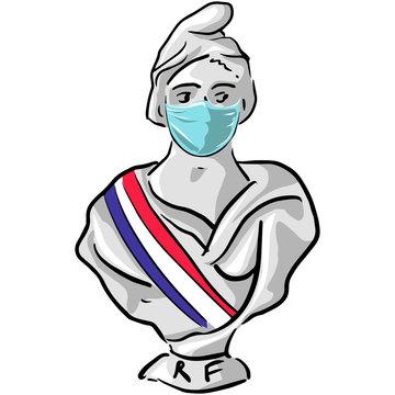 mariane_masque, République française, mairie, municipale, marianne