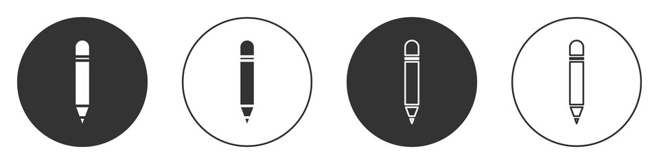 Black Pencil with eraser icon isolated on white background. Drawing and educational tools. School office symbol. Circle button. Vector Illustration