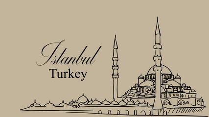 Illustration concept of blue mosque istanbul turkey, islamic worship places sultan ahmed mosque europe
