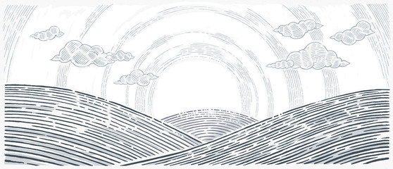 Hilly landscape, sunrise above hills in graphical style.