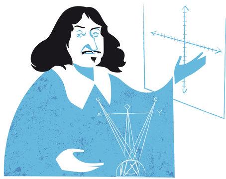 Rene Descartes, Renatus Cartesius, French Philosopher, Mathematician and Writer, vector illustration