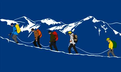 summit mountaineering mountain snow climbers climbing snowy mountains ridge winter mountain expedition team climbing group climbers mountain peak  isolated vector illustration on blue background