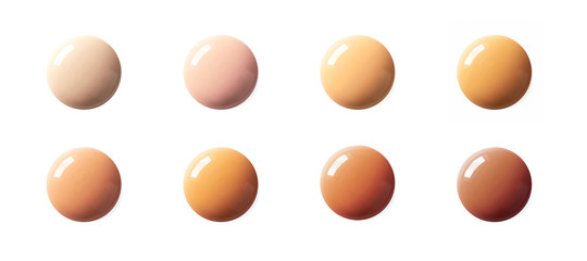 Liquid foundation circle spots color matching horizontal banner format, top view. Collection of BB cream or CC cream shade drops sample isolated on white background