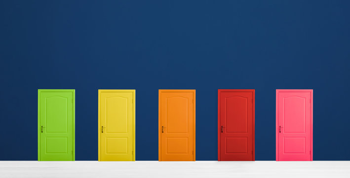 Many colorful doors in room. Concept of choice