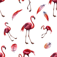 Tuinposter Flamingo Watercolor seamless pattern with flamingo. Hand drawing decorative background. Hand drawn watercolor illustration. Print for textile, cloth, wallpaper, scrapbooking