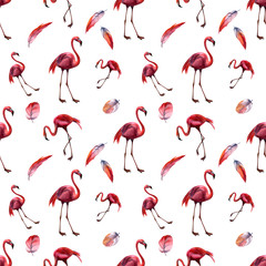 Poster Flamingo Watercolor seamless pattern with flamingo. Hand drawing decorative background. Hand drawn watercolor illustration. Print for textile, cloth, wallpaper, scrapbooking
