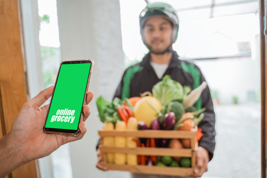 food ordering via smartphone apps. online shopping. grocery delivery at home
