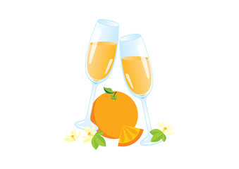 Glasses of champagne with orange icon vector. Mimosa celebratory toast vector. Mixed drink with orange juice icon. Mimosa drink icon isolated on a white background