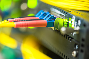 Network technology, fiber optic patch cord cable connected to switch in data center, close-up with...