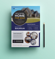 Real Estate Agency Flyer Template Design With Deep Purple Color