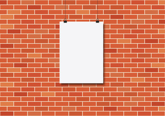 Wall Mural - Blank poster on a red brick wall.