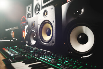 Professional dj sound equipment in music store