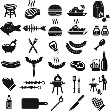 Barbecue summer vector icon set - illustrations such as hamburgers, sausage, grill, charcoal, fish, steak and others.