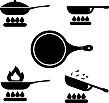 Frying pan or skillet and wok on stove cooking vector icon set