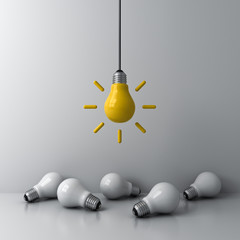 Papiers peints Pierre, Sable Idea hanging bulb standing out from the crowd the dim unlit white bulbs on white background business creative idea concepts 3D rendering