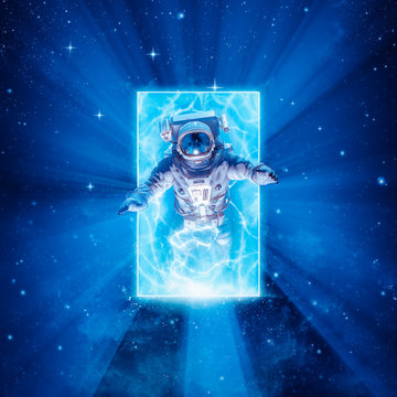 Entering another dimension / 3D illustration of science fiction scene with astronaut passing through glowing energy portal in outer space
