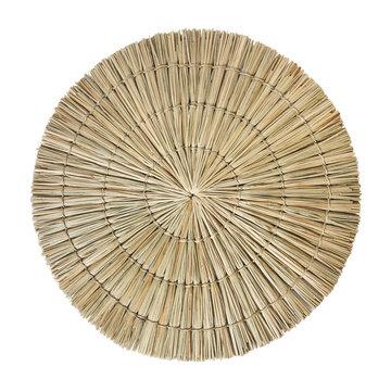 straw carpet round decor isolated on white background. Details of modern boho bohemian scandinavian and minimal style eco design interior
