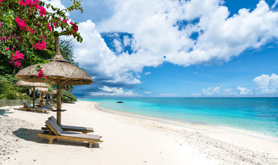 Wall Mural - Public beach with lounge chairs and umbrellas in Pointe aux Canonniers, Mauritius island, Africa