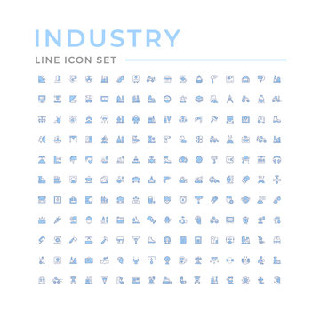 Set color line icons of industry