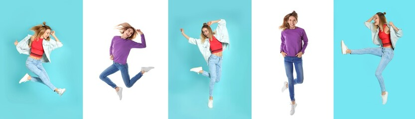 Wall Mural - Collage with photos of woman in fashion clothes jumping on different color backgrounds. Banner design