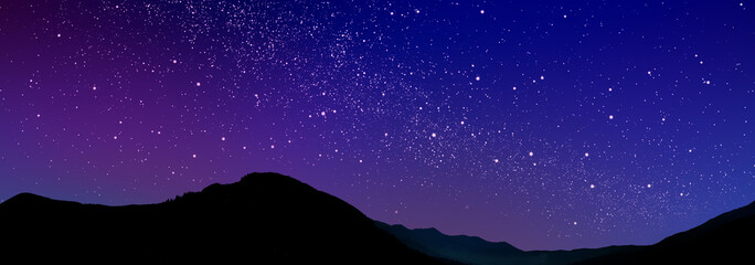 Mountain landscape and beautiful starry sky at night. Banner design