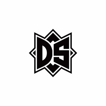 DS monogram logo with square rotate style outline