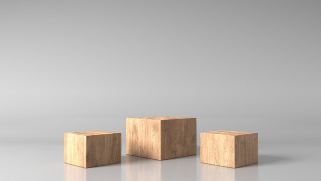 blank space luxury brown wood box, block, square, cube podium in white marble background. concept scene stage showcase, product, purfume, promotion sale, banner, presentation, cosmetic. 3D render
