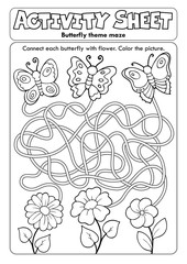 Photo sur Aluminium Enfants Activity sheet butterfly theme maze