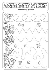 Photo sur Aluminium Enfants Activity sheet handwriting practise topic 3