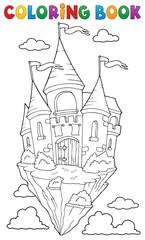 Zelfklevend Fotobehang Voor kinderen Coloring book flying castle theme 1