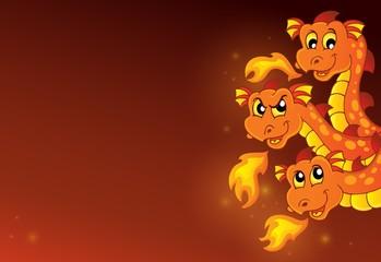 Zelfklevend Fotobehang Voor kinderen Lurking dragon heads composition 1