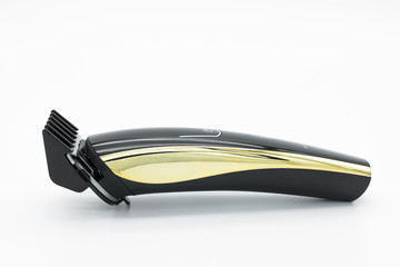 Close-up view of the cordless electric hair clipper isolated on the white background.