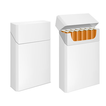 Cigarettes pack, realistic blank white box mockup