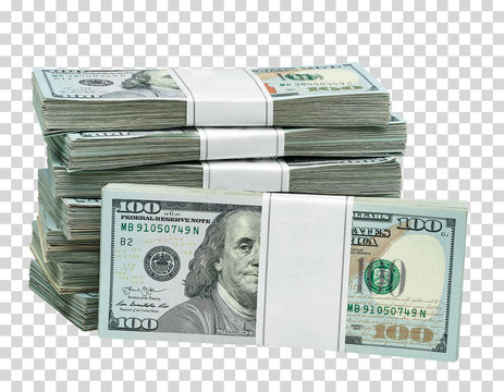 New design dollar bundles on isolated  background. Including clipping path